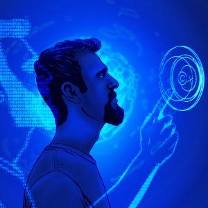 Grafiikka, jossa mies sinisellä taustalla ja digitaalisia merkkijonoja.