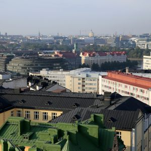 Näkymä Kalliosta etelään Helsingin kattojen ylle.