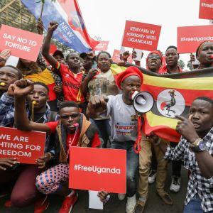 Bobi Winen vapauttamista vaatineet mielenosoittajat valtasivat katuja Kenian pääkaupunki Nairobissa 23 elokuuta.