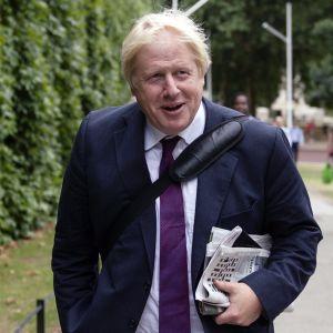Johnson kulkee hymyillen puistossa tummansinisessä puvussa ja viininpunaisessa kravatissa sanomalehtiä kainalossaan. Olkalaukun hihna kulkee hänen hartialtaan rintakehän yli. Taustalla näkyy puistossa toiseen suuntaan kulkevia ihmisiä.