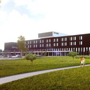 Havainnekuva Kouvolaan rakennettavasta Ratamo-sairaalakeskuksesta syyskuussa 2018.