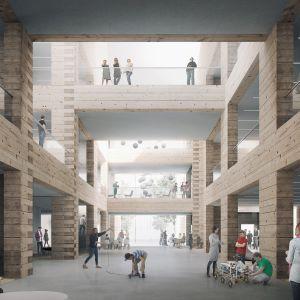Valmistuessaan Tuusulan uusi koulu- ja monitoimirakennus olisi maailman suurin hirsinen koulu. Kuvassa on arkkitehtuurikilpailun voittanut ehdotus.