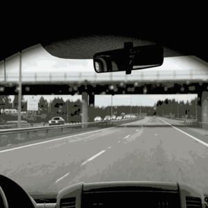 Animaatio, joka esittää silmien menemistä kiinni auton ratissa.