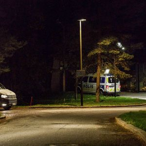 Poliisiautoja Mäntyniemen portilla