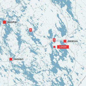 Kartta, jossa näkyy Liperi, Joensuu, Kuopio ja Varkaus.