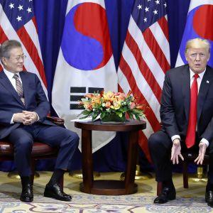 Etelä-Korean presidentti Moon Jae-in ja Yhdysvaltain presidentti Donald Trump istuvat. Taustalla on maiden liput.