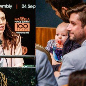 Kahden kuvan yhdistelmä. Kuvassa vasemmalla Jacinda Ardern puhuu korokkeella, jossa on YK: symboli. Oikealla istuu Clarke Gayford vauva sylissään.