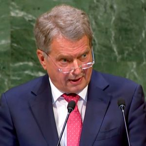 Presidentti Sauli Niinistö puhuu YK:ssa.