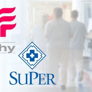 Ammattiliittojen Tehy ja Super logot.