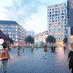 Riihimäen Veturin aukio tulevaisuudessa rakennuksineen ja toimintoineen, havainnekuva