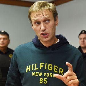 Aleksei Navalnyi puhuu.