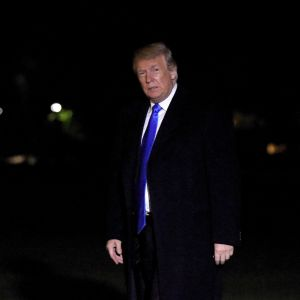 Presidentti Donald Trump kuvattiin palaamassa Valkoiseen taloon 13. lokakuuta.