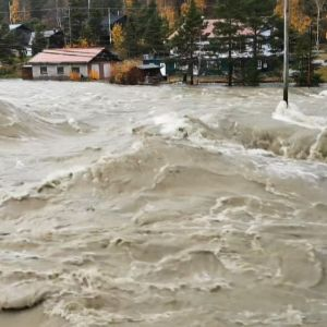 Tulvaa Opplandissa.