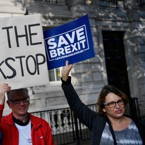 Lontoossa osoitettiin mieltä brexitin puolesta 16. lokakuuta.