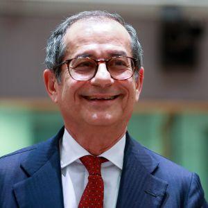 Italian valtiovarainministeri Giovanni Tria euroryhmän kokouksessa Brysselissä.