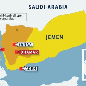 Jemenin kartta. Kapinallisalue