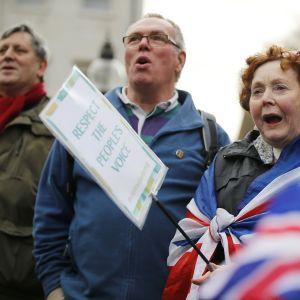 Mielenosoittajia Lontoossa.