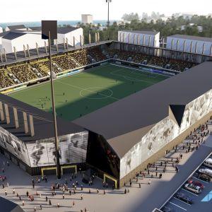 Havainnekuva Kuopioon suunnitellusta 8 000 -paikkaisesta stadionista.