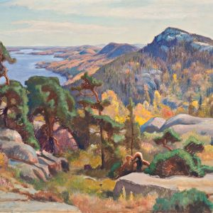 Eero Järnefelt (1893–1937): Kolilta, 1927, guassi, 81 x 126 cm, Fortumin Taidesäätiön kokoelma.