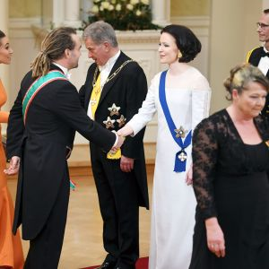 Krista Paasi itsenäisyyspäivän vastaanotolla Presidentinlinnassa Helsingissä.