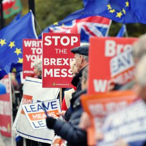 Mielenosoitus parlamenttitalon edustalla Lontoossa.