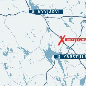 Kuolonkolari tapahtui 13-tiellä Karstulassa aamulla kello 10.