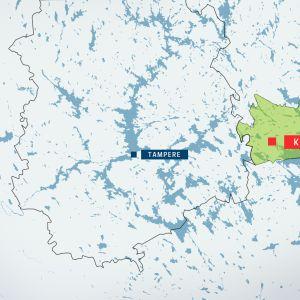 Kartta Kuhmoisista ja Pirkanmaasta
