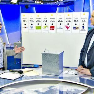 Ylen aamu-tv:n juontaja Mikko Haapanen ja Jouko Jokinen suorassa Ylen aamu-tv:n lähetyksessä.