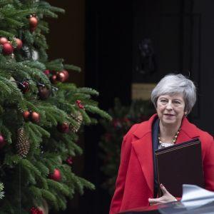 Nainen punaisessa takissa kuusen vieressä, kuusessa koristeita ja käpyjä.
