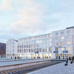Havainnekuva uudesta hotellista Kaisaniemenpuiston puolelta.
