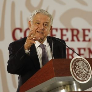 Meksikon presidentti Andres Manuel López Obrador puhuu tiedotustilaisuudessa Mexico Cityssä.