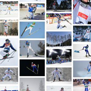 Talviurheilijoita pikkukuvina