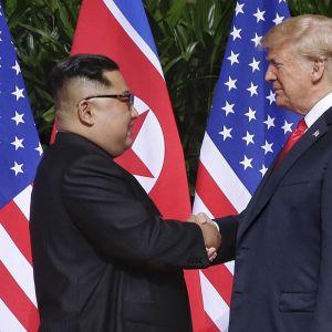 Pohjois-Korean johtaja Kim Jong-un ja Yhdysvaltain presidentti Donald Trump kättelevät Singaporessa.