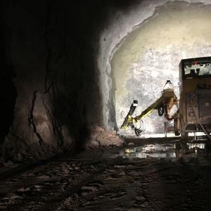Porajumbo Liipolan tunnelissa Lahdessa tammikuussa 2019
