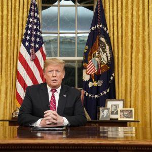 Presidentti Trump puhuu Valkoisessa talossa.