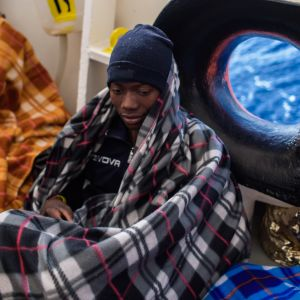 Mies pelastettiin Aquarius-alukselle Libyan rannikon edustalla viime huhtikuussa.