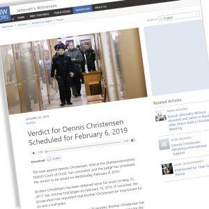 Kuvakaappaus Dennis Christensenin tapauksesta jw.org -sivustolla.