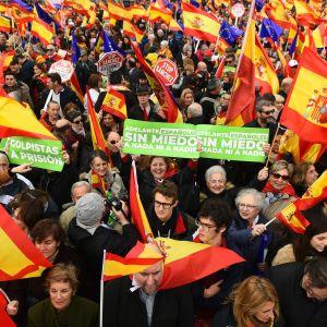 Mielenosoittajat vaativat erilaista Katalonia-politiikkaa Espanjan pääkaupungissa Madridissa.