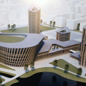 Havainnekuvassa Hämeensaareen suunniteltu kiinteistökehityshanke