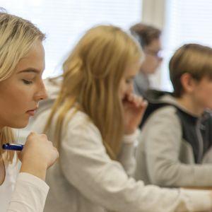 Parikkalan lukion opiskelijoita englannin tunnilla