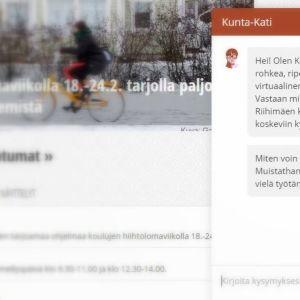 Kuvakaappaus Riihimäen kaupungin nettisivuilta Kunta-Kati chat-asiakaspalvelusta