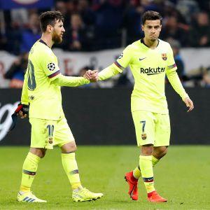 Barcelonan Lionel Messi ja Philippe Coutinho