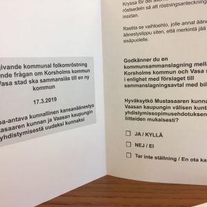 Mustasaarelaiset äänestivät kuntaliitoksesta Vaasan kanssa sunnuntaina 17.3.2019.