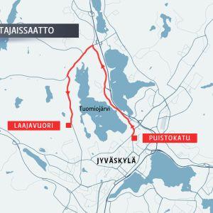 Matti Nykäsen hautajaissaattueen reitti.