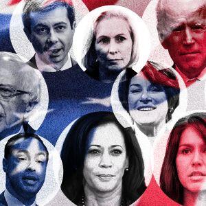Kuvakollaasi demokraattien presidenttiehdokkaista.