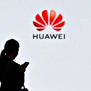 Nainen käyttää kännykkäänsä. Taustalla näkyy Huawein logo valkoisella näytöllä.