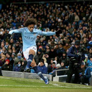 Manchester Cityn Leroy Sane Mestarien liigan ottelussa 1899 Hoffenheimia vastaan.