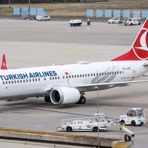 Turkish airlinesin Boeing 737 Max 8.