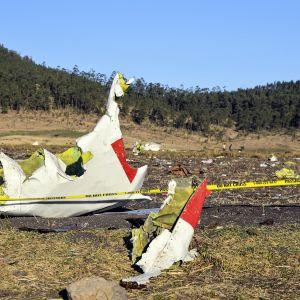 Pudonneen koneen osia Bishoftun lähellä Etiopiassa.