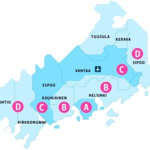 Pelkistetty kartta HSL vyöhykkeistä.
